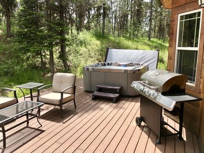 Backyard Deck with Hot Tub and Grill