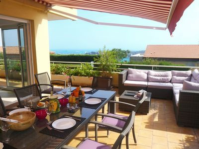 Photo for apartment of 65m² - 4 guests - superb private terrace of 50m² - sea view - WiFi
