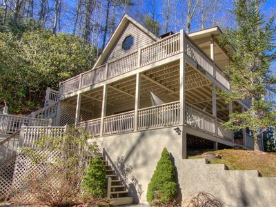 Photo for 3 BR Cabin rental with all features on your list for a Mountain Getaway Experience. Near Historic Valle Crucis. Minutes to Hawksnest Ski/Golf, Ski Sugar Mountain and Appalachian Ski Mountain. Gem Mining, Antique shopping and Putt Putt just minutes away as well.