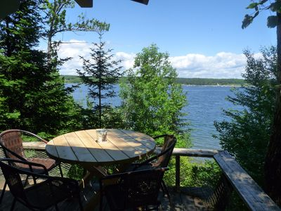Photo for Bayshore Cabin West: Overlooking Frenchman Bay with Stairs to the Shore Below