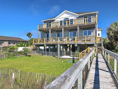 """Photo for Ready To Rent Now! FREE BEACH GEAR! Beachfront, Pets, Pool, Hot Tub, Private Boardwalk, 5BR/4.5BA """"Shell Bee"""""""