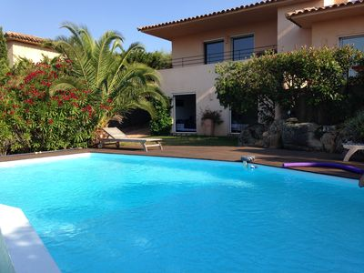 Photo for Beautiful Villa with pool, sea and mountain views - 800m beach - 10 people