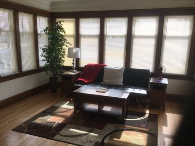 Relax and soak up the sun in your private sunroom. Futon sleeps  2. Enjoy!
