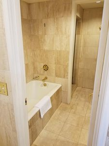 Marble room with Soaking Tub and Separate Shower.