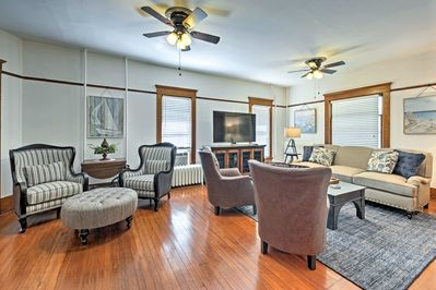 Up to 10 guests will relish the original hardwood floors and beautiful furniture.