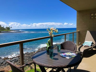 Photo for Kuhio Shores 207: Oceanfront AC Condo  Drive In Your Free Midsize Rental Car