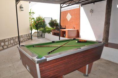 Snooker/pool table by the BBQ