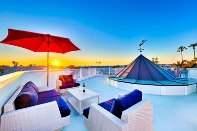 Rooftop cluster seating for relaxing sunset views