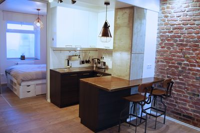 Fully equipped design kitchen.
