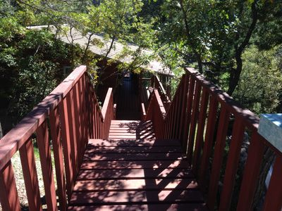 Stairway down the hillside into the cabin