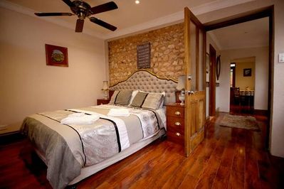 Comfortable queen bed with linen provided