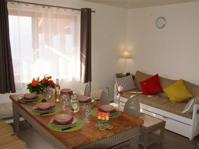 Photo for Surface area : about 62 m². Living room with bed-settee. Bedroom with pull-out bed