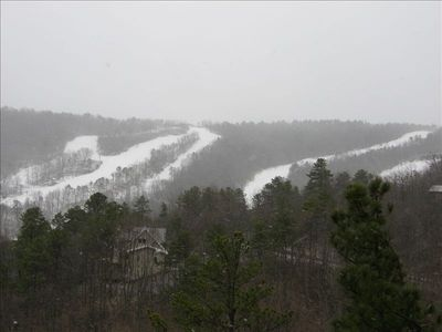A beautiful snowy February morning from the upper deck of Cliffhanger!