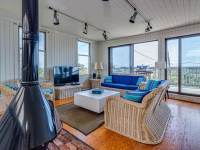 Photo for Large home with ocean views, fireplace &  gas grill - dogs ok!