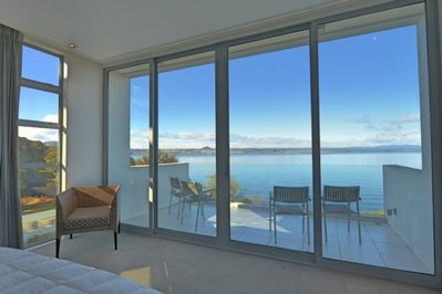 Beautiful views from the master bedroom looking out over Lake Taupo