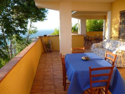 Photo for two-room apartment large panoramic terrace overlooking the sea Zambrone Marina / Tropea