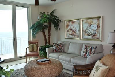 Luxurious and comfortable family room with a spectacular view of the Gulf.