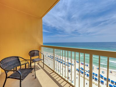 Photo for Gulf-front resort condo w/ beach access & shared pools/gym - walk to Pier Park!