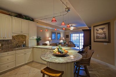 Large Kitchen & Living Area with Travertine Floors