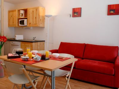 Photo for Studio for 4 persons with a balcony.Living room with television and sofa bed for two persons (160*20