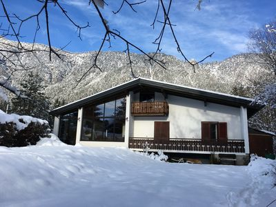 Photo for Luxury 5 bedroom, 3 bathroom hillside Chalet with views of Italian border.
