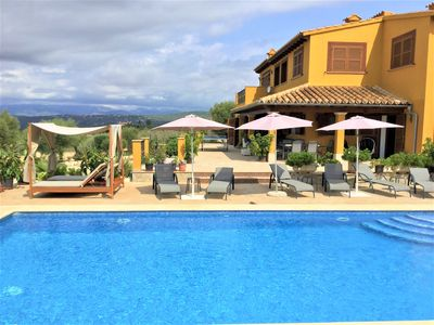 Photo for Country villa with privacy, views over the bay of Palma, pool, wifi, BBQ