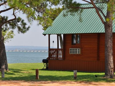 Photo for Hill Country lakefront log cabin with great views, swimming, fishing, boating