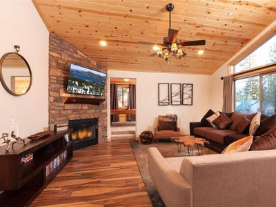 Photo for BRAND NEW LOG HOME, BEAUTIFUL AND COZY!  SURROUNDED BY TREES!