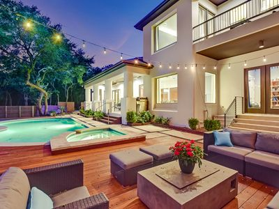 Photo for ARRIVE SKYLINE VIEW ESTATE | Up to 12 Beds | 5 mi to ATX | Pool/Spa | Scenic