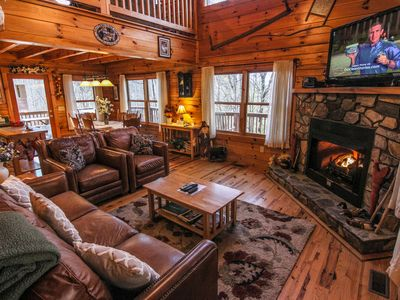 Photo for Mountain Breezes - Log Home with Hot Tub, Pool Table, Private, 10 mins to West Jefferson!