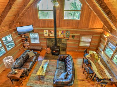 Photo for Rustic Hand Hewn Log Cabin-Fully Fenced Yard! 20 Mins from downtown Asheville!