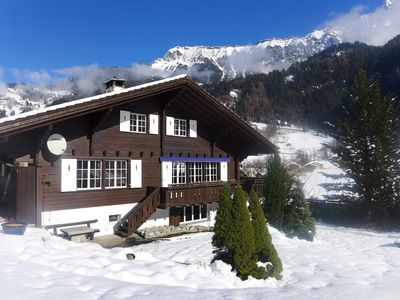 Photo for This 6-bedroom villa for up to 12 guests is located in Lauterbrunnen and has a private swimming pool