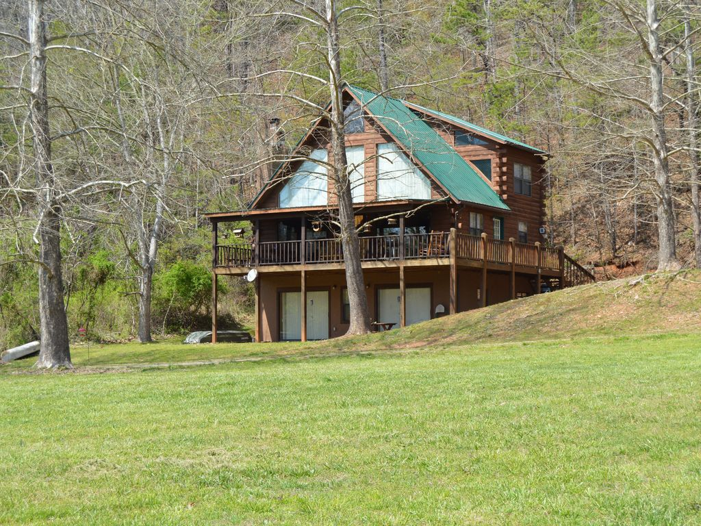 Riverfront Log Cabin Home Two Story Thr VRBO
