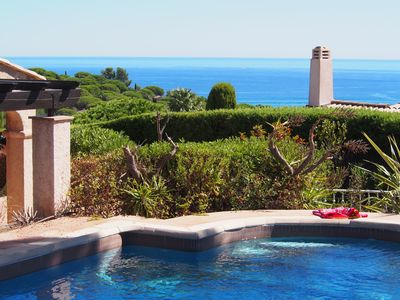 Photo for Gorgeous  sea view, heated pool, jacuzzi, 10-15 minutes easy walk to the beach.
