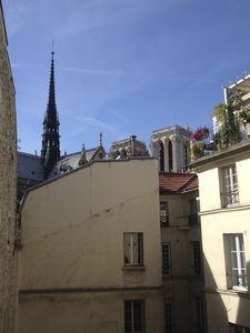 view of Notre Dame from the three windows in master bedroom, living, and dining room