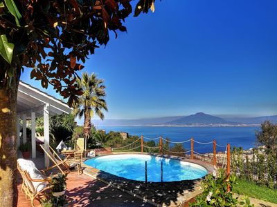Photo for Splendid and bright two-story villa with private pool with sea view of Sorrento