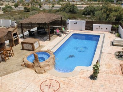 Photo for Beautiful 3 Bed Detached Villa, Heated Swim Pool & Jacuzzi, Wifi, SKY tv, BBQ