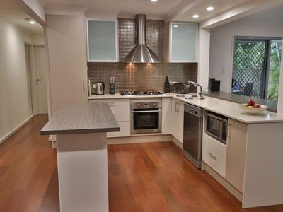 Kitchen with Gas Cooking, huge fridge, filtered water and ice maker, microwave