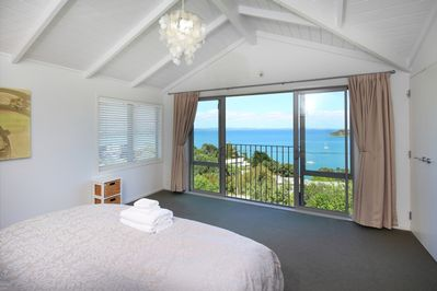 Bedroom looking out to sea views