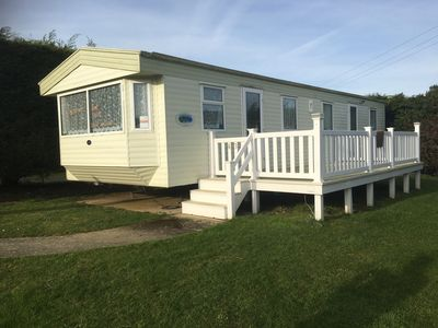 The caravan comes with private decking.