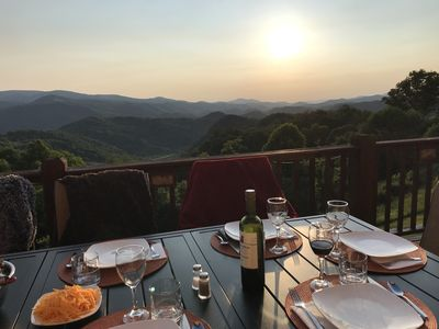 Outdoor Dining at Scenic Ridge with Beautiful Long Range Views in All Seasons