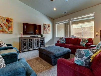 Photo for Modern, mountain view home with a patio, balcony, and shared pool & hot tub!