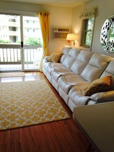 Leather sofa wt 2 recliners&pull out queen-size bed. New Pella sliders & windows
