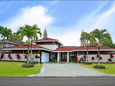 Photo for On Makai Golf Course Elegant home with hot tub and pool in Princeville