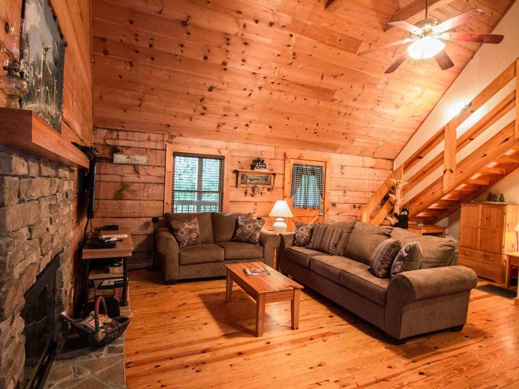 Curl Up By The Fireplace In The Living Area And Enjoy Your Favorite Movie  On The