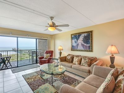 Photo for 3rd Floor 2 Bed/2 Bath Oceanfront condo sleeps 6.  Tennis, W/D, pier, balcony & pool.