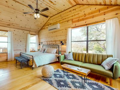 Photo for Newly-constructed cabin w/ deck, firepit, & Hill Country views - 1 dog OK!