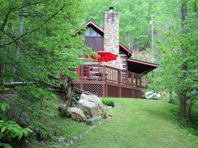 Photo for PERFECT GETAWAY! Forested, Secluded Log Cabin with WIFI, Hot Tub and Cable