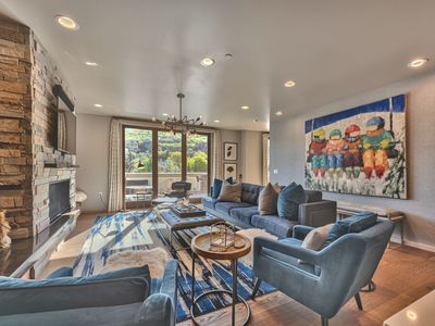 Photo for 2-Level Luxury Condo, Expansive Deck with Hot Tub Overlooking Main Street, Sleeps 9, with Parking
