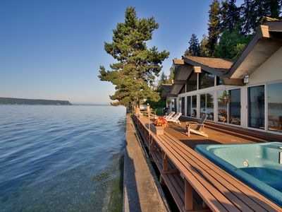 Photo for Family friendly, waterfront home with hot tub - water views from every room!